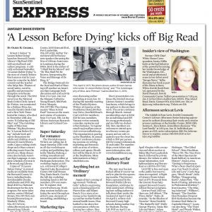 2.Sun Sentinel - Susie Levan - ?A Lesson Be fore Dying' kicks off Big Read - 1-8-20